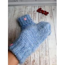 Вязаные носки голубого цвета, зимние носки, самые мягкие и пушистые