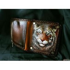 Кожаное портмоне Тигр