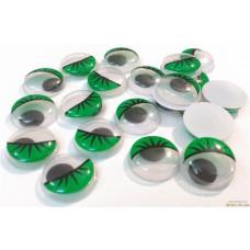 Глаза бегающие 14 мм Зеленые