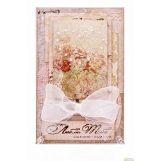 Бежевая открытка с жемчужным сердцем
