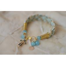 Кожаный плетеный браслет с кварцем Крестик