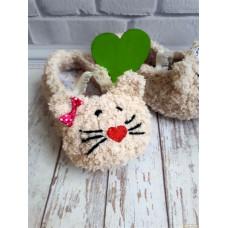 Вязаные детские плюшевые домашние тапочки с кошачьей лапкой